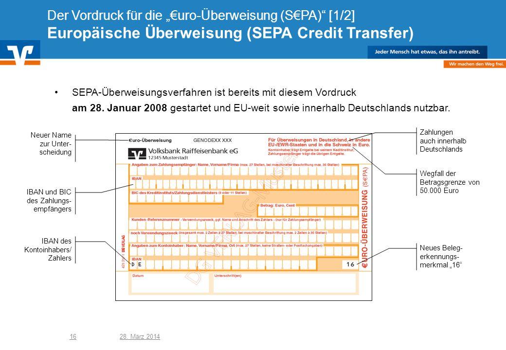 """Der Vordruck für die """"€uro-Überweisung (S€PA) [1/2] Europäische Überweisung (SEPA Credit Transfer)"""